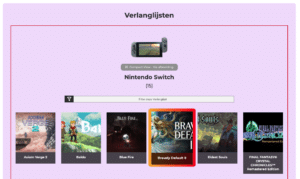 Nintendo Collectie Systeem - Verlanglijsten